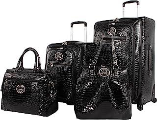 Kathy Van Zeeland Croco PVC Designer Luggage - 4 Piece Softside Expandable Lightweight Spinner Suitcases - Travel Set incl...
