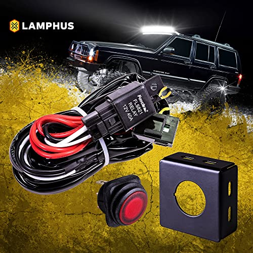 lamphus 13' off road atv/jeep led light bar wiring harness kit - waterproof