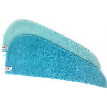 Turbie Twist Super Absorbent Microfiber Hair Towel Wrap AS SEEN ON TV (2 Pack) (Light Aqua-Dark Aqua)