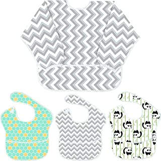 Youngever 4 Pack Baby Bibs, Baby Bibs with 1 Pack Full Coverage Sleeved Bib and 3 Pack Bibs with Pocket, 6-24 Months, Waterproof, Washable (Gray Wave)