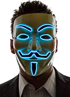 NEON NIGHTLIFE Light Up V for Vendetta Anonymous LED mask, Guy Fawkes Mask, One Size