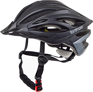 Tommaso Ombra Lightweight Cycling Helmet Removable Visor Road & MTB Bike Adjustable Fit 4 Colors Black,Matte Black,White,Titanium Fully Certified Safety Protection Men Women Youth