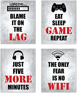 Video Game Themed Gamer Wall Art Posters Home Decor Black, White and Red Gaming Bedroom Pictures Prints Decorations for Teen Dorm College Playrooom Gameroom Boys Girls Children –Set of 4 8 x 10 in.