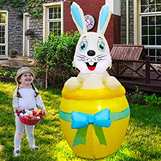 Twinkle Star 6 FT Inflatable Easter Decoration, Lighted Easter Bunny on Yellow Egg, Blow Up Cute Rabbit Indoor Outdoor Hol...