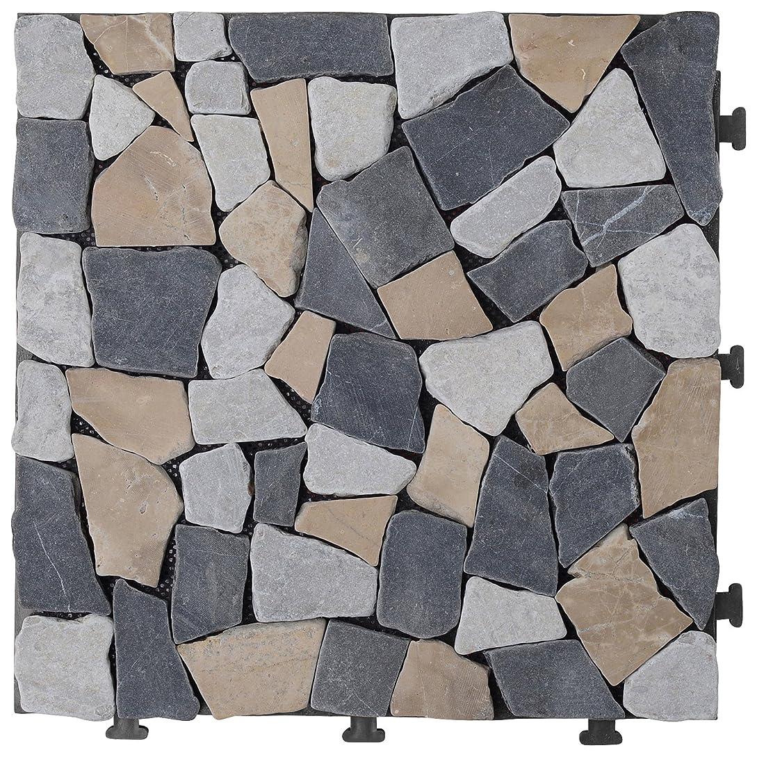 大胆すべてペパーミント山善 ガーデンマスター ジョイント天然石マット ベージュ/グレー JTM-30 BR 1P