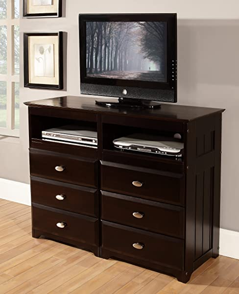 Discovery World Furniture 6 Drawer Entertainment Dresser Espresso