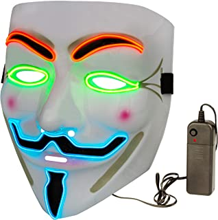 Halloween Masks LED V for Vendetta Mask Anonymous Hacker Guy Light Up Halloween Mask White