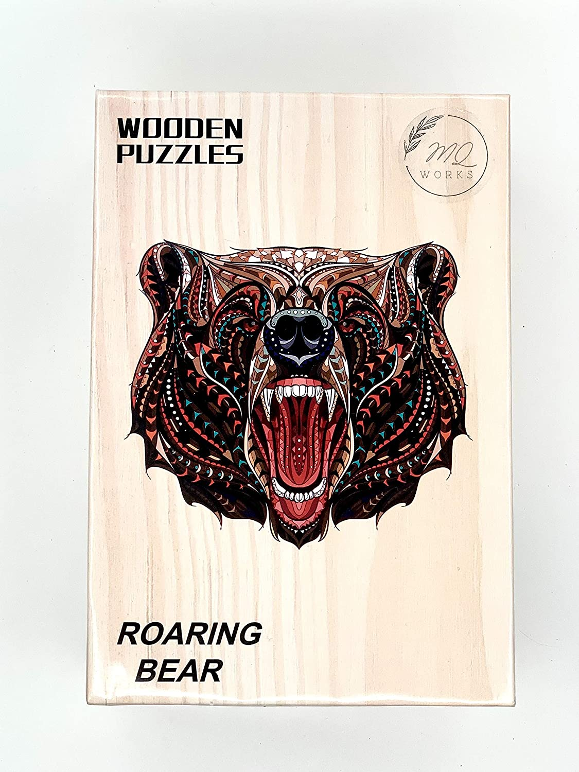 8.3 x 11.7in | Family Puzzle Unique Wooden Jigsaw Puzzle Wooden Puzzles Roaring Bear Medium MQ Works