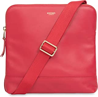 """Knomo Mayfair Luxe Woodstock, 8"""" Full Grain Leather Cross-Body Bag, with Device Protection, Adjustable and Detachable Strap, RFID Pocket and KNOMO ID, Chilli"""