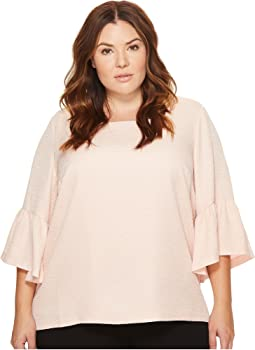 Calvin Klein Plus - Plus Size Textured Square Neck Flutter Sleeve Blouse