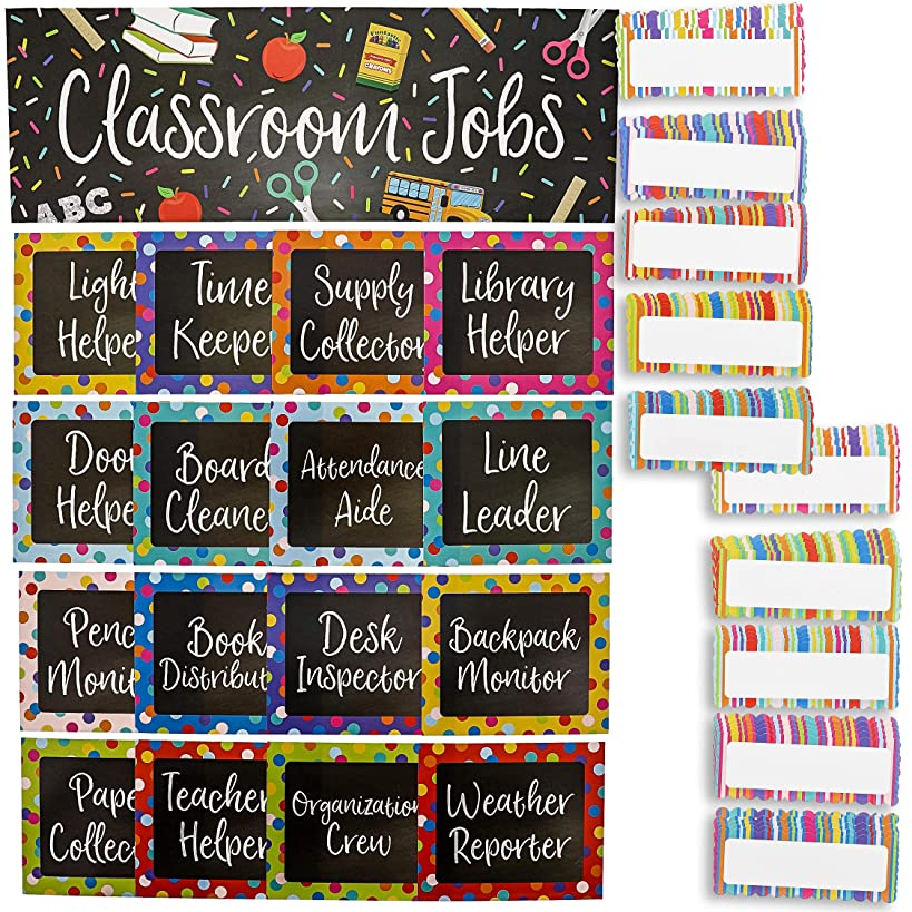 Juvale 17-Piece Chalkboard Design Classroom Jobs Chart Set for Bulletin Board and 50 Blank Name Tags