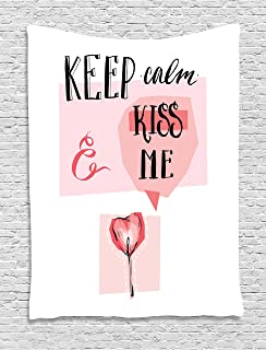 Keep Calm Tapestry, Kiss Me Speech Bubble Heart Shape Lollipop in Pink Pastel Colors Romantic, Wall Hanging for Bedroom Li...