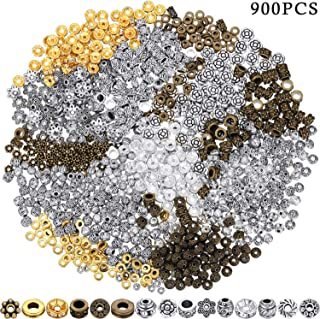 900 Pieces Spacer Beads Antique Bronze Beads Tibetan Alloy Spacer Beads for Bracelet Necklace Jewelry Making