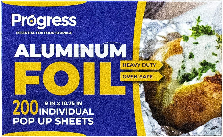 Pop-Up Aluminum Foil Wrap Sheets 9 x 10 3/4 Silver 200 per Box - Non-Stick Heavy Duty Aluminum foil Sheets for Restaurants, Delis & Catering