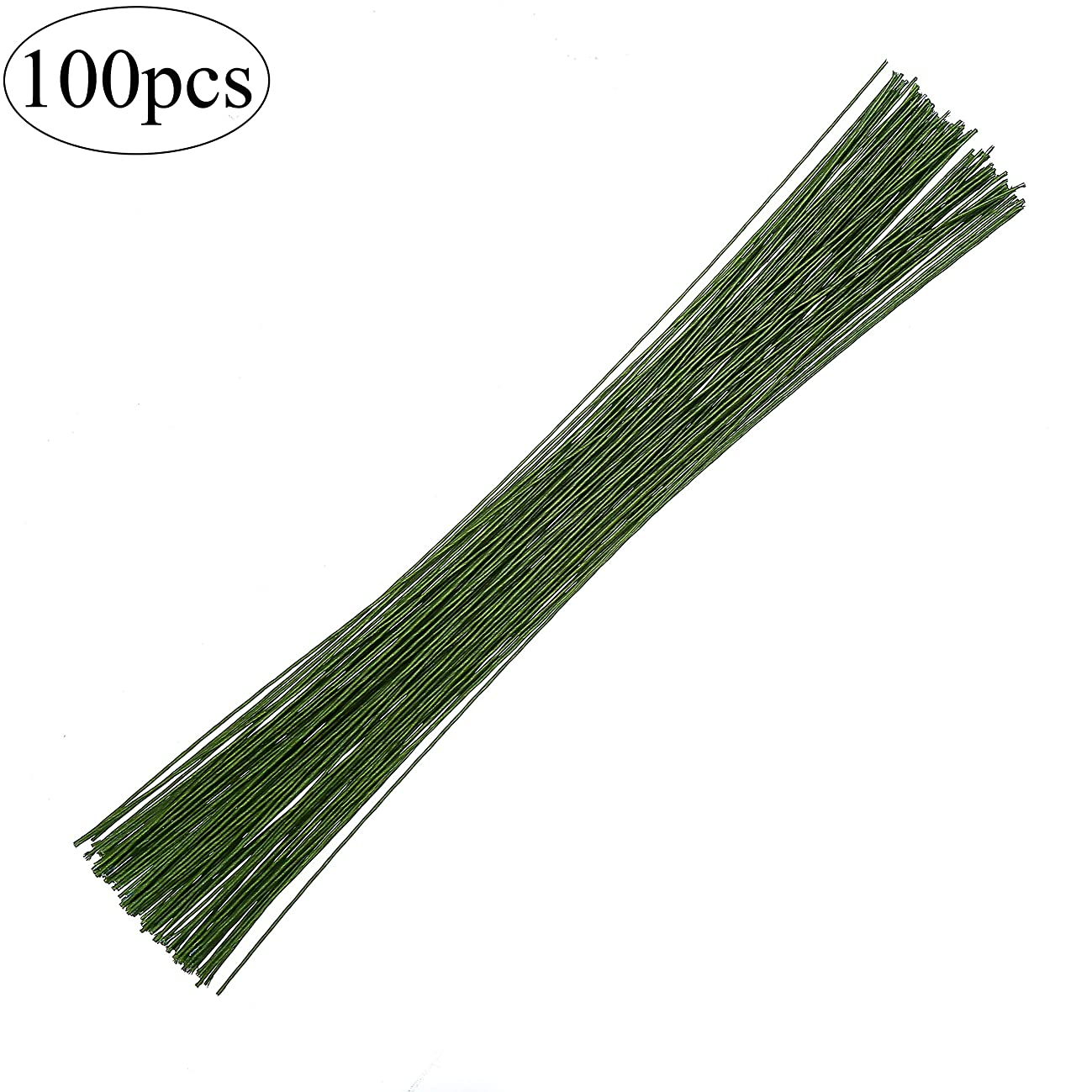 CCINEE 18 Gauge Dark Green Floral Paper Wrapped Wire 16 inch, 100/Package
