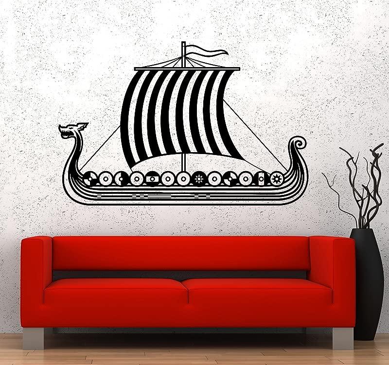 Large Vinyl Wall Decal Viking Ship Nautical Kids Room Stickers Mural 436ig Black