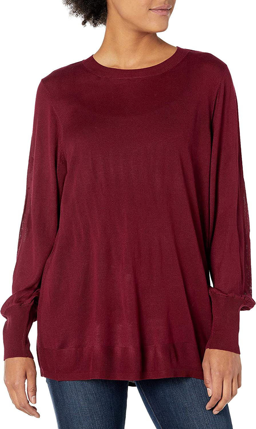 City Chic Women's Apparel Women's Plus Size Sheer Crew Neck Jumper with Rib Cuffed Sleeves