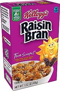 Kellogg's Raisin Bran, Breakfast Cereal, Original, Excellent Source of Fiber, Single Serve, 1.52 oz Box(Pack of 70)