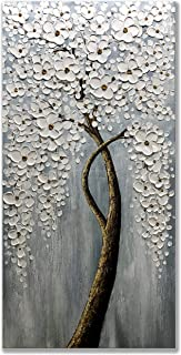 Zoinart 100% Hand-Painted 3D Plum Blossom Oil Paintings 48x24inch Abstract Modern Canvas Wall Art White Flowers Artwork Home Decorations for Living Room Aisle Wall Decor