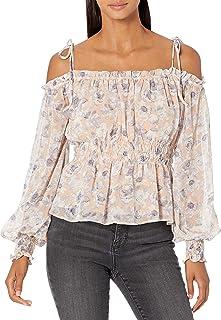 ASTR the label Women's Long Sleeve Cold Shoulder Harlee Sqaure Neck Peplum TOP, Peach-Grey Floral