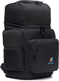 MOJECTO Backpack Cooler - Two Insulated Compartment. Heavy Duty 1000D Fabric, High Density Foam Insulation, Heat Sealed Thick Peva Liner, Multiple Large Pockets, Strong Zippers, Padded Straps.