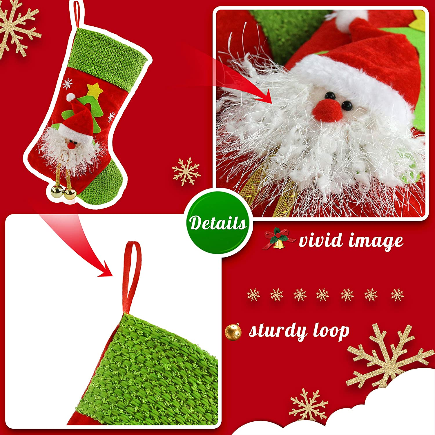 01 Red 43 cm Houwsbaby 4 pcs Christmas Stockings 3D Santa Snowman Bear and Reindeer Xmas Holders Gift Bag for Ornament Party Accessory
