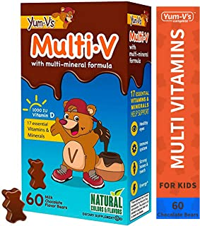 Yum-V MultiVitamins Chewables for Kids, Milk Chocolate (60 Ct); Daily Dietary Supplement w/Essential Vitamins & Minerals – Vitamin D, B12, B6, E, C, A, K, Zinc, Magnesium, Kosher, Halal, Gluten Free