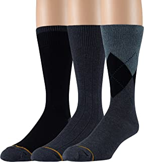 Gold Toe Men's Cotton 3 Pack Dress Socks Solid Argyle Striped Shoe Size 6-12