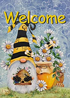 Furiaz Welcome Honey Bee Gnome Garden Flag, Spring Summer Yard Outdoor Home Decorative Small Flag, House Lawn Outside Dais...