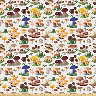 Ambesonne Mushroom Fabric by The Yard, Pattern Types of Mushrooms Wild Species Organic Natural Food Garden Theme, Stretch ...