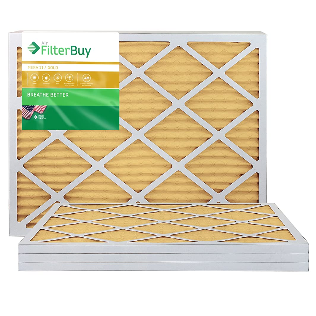 FilterBuy 16x30x1 MERV 11 Pleated AC Furnace Air Filter, (Pack of 4 Filters), 16x30x1 – Gold