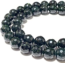 [ABCgems] Rare Dark Green Goldstone (Grade AA) 12mm Faceted Round Beads for Jewelry Making