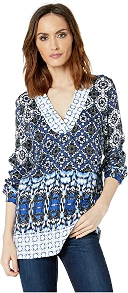 Long Sleeve Printed Stretch Challis Blouse