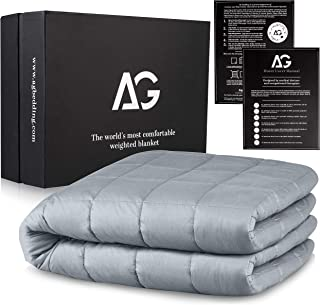 AG Adults Weighted Blanket 15 lbs | 48'' x 78'' | Heavy Blanket for Adults, Cooling Blanket | Calming Weighted Blanket | Heavy Fleece Blanket, Luxury Cotton Material with Glass Beads