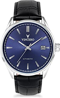 Vincero Luxury Mens Kairos Automatic Wrist Watch with Italian Leather Watch Band — 42mm Automatic Watch