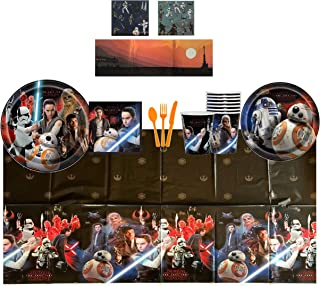 """Star Wars VIII - The Last Jedi Complete Birthday Party Pack for 8 Includes 9"""" Dinner Plates, 7"""" Cake Plates, Beverage Napkins, Cups, Tablecover & Cutlery with Bonus Reusable Scene Stickers"""