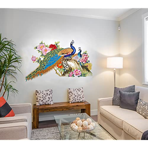 Way Decals Wall Sticker for Living Room - Royal Peacock Design for Home Décor