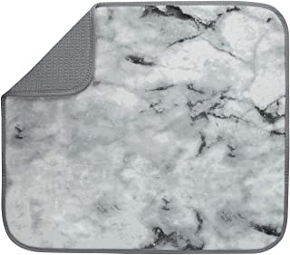 S&T INC. Absorbent, Reversible Microfiber Dish Drying Mat for Kitchen, 16 Inch x 18 Inch, Marble