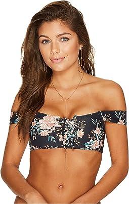Let It Bloom Lace-Up Bikini Top