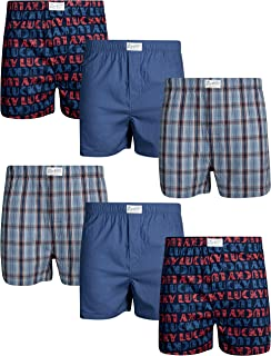 Men's Woven Cotton Boxer with Functional Fly (6 Pack)