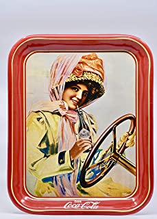 Coca-Cola Vintage Serving Tray - 1910's Coke Calendar Girl Behind the Wheel - Red w/Gold Trim - 13x11 inch - Hard to Find - Collectible