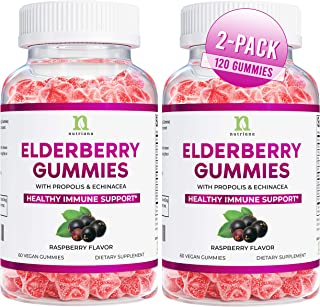 Elderberry Gummies - Sambucus Black Elderberry Gummies for Adults & Kids, Echinacea, Propolis - (2 Pack - 120 Vegan Gummies)