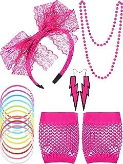4 Set Neon 80s Fancy Dress Leg Warmers Fishnet Gloves Necklace Earrings 1980/'S