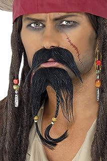 Smiffy'S 30123 Set De Pelo Facial De Pirata, Bigote Y Barba, Negro