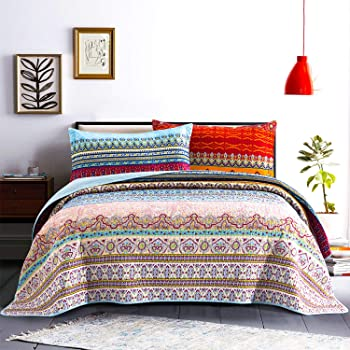 """Honova Boho Quilt Set 3pc, Retro Striped Pattern Printed Quilted Bedspreads Queen Size 90""""x96"""", Soft Microfiber Coverlet Queen with 2 Pillow Shams - Lightweight Design for All-Season"""