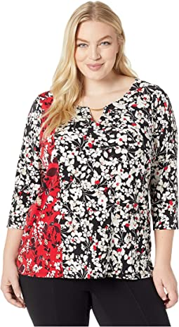 Plus Size Printed 3/4 Sleeve with Hardware