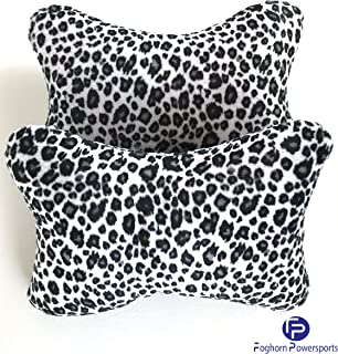 Snow Leopard Print Car Seat Headrest Pillows (Pair) - Car, Truck,Travel