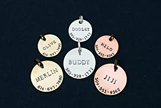 Dog ID Tag Pet Identification - DII ABC - Cat Collar Round Disc - Handstamped 1 1/8 7/8 Inch Discs – Lost New Puppy Kitten Identification – Change Name Phone - Fast 1 Day Shipping