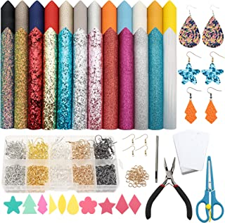 David Angie Leather Earring Bow Making Kits with 24pcs 5 Styles Litchi Glitter Faux Leather Sheets and Earring Making Tool...
