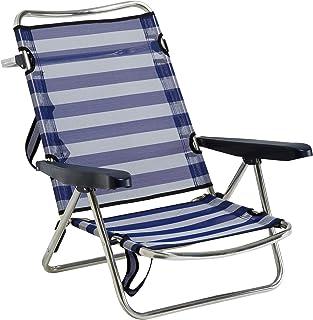 comprar comparacion Alco 607ALF-0056 - Silla playa aluminio fibreline, con asa, Azul/Blanco, 720 x 650 x 150 mm, 1 unidad